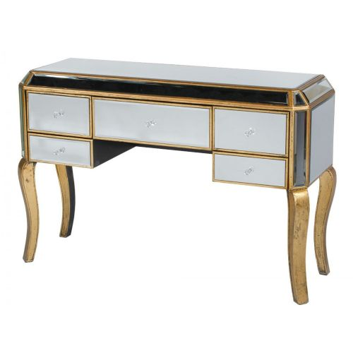 Vintage Antique Gold Mirrored Venezia Desk / Dressing Table